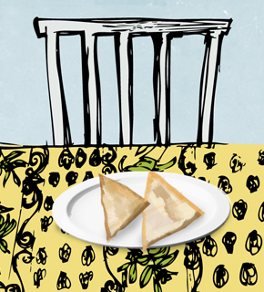 Illustration of samosas, by Stephanie Seaton for article – 'Not From Around These Parts Huh?'