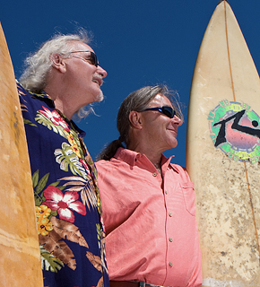 Ron Watkins founder of Dirty Laundry Winery and Tom Di Bello, winemaker at Burrowing Owl - surfing safari