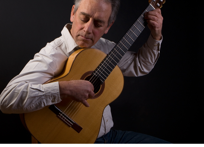 John Park with his handcrafted flamenco guitar