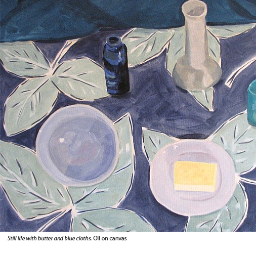 Loraine Stephanson Still life with butter and blue cloths. Oil painting