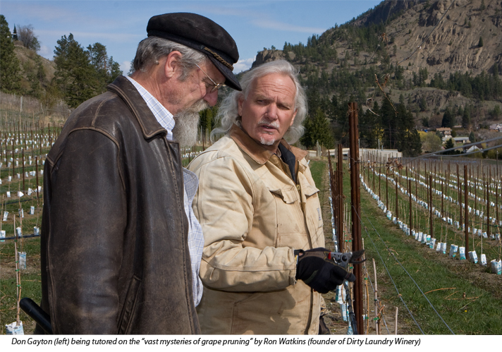 Ron Watkins, founder of Dirty Laundrey Winery, with Don Gayton author and ecologist