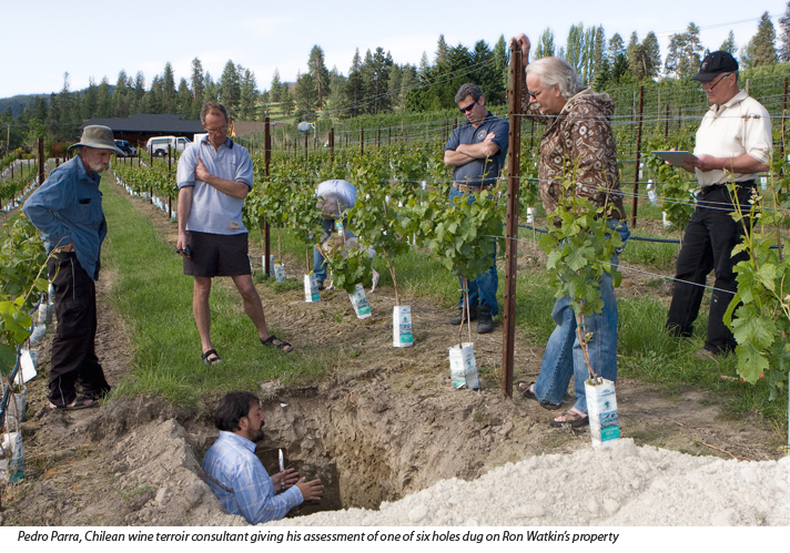 Theo Siemens, Okanagan Crush Pad vineyard manager, Ron Watkins, Steve Lornie, Okanagan Crush Pad co-owner
