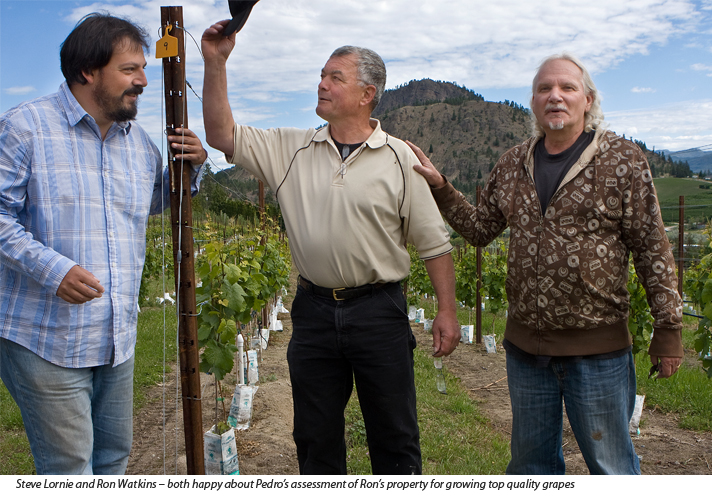 Pedro Parra - terroir consultant, and Steve Lornie co-owner of the Okanagan Crush Pad, (center) and Ron Watkins on right