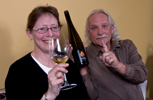 Kathy Malone, Hillside Winery winemaker and Ron Watkins founder of Dirty Laundry Winery with the winning Riesling from the BC Wines blind tasting