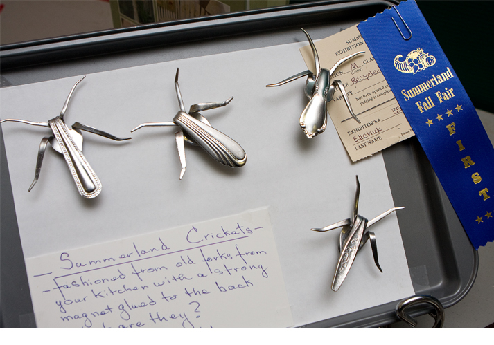 Vintage crickets made from old forks