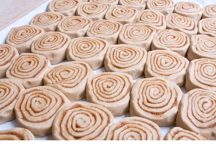 Cinnamon swirls lined up at True Grain Bread
