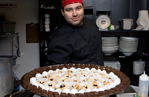 Executive Chef, Bruno Terroso and dessert tray at the Vanilla Pod Restaurant